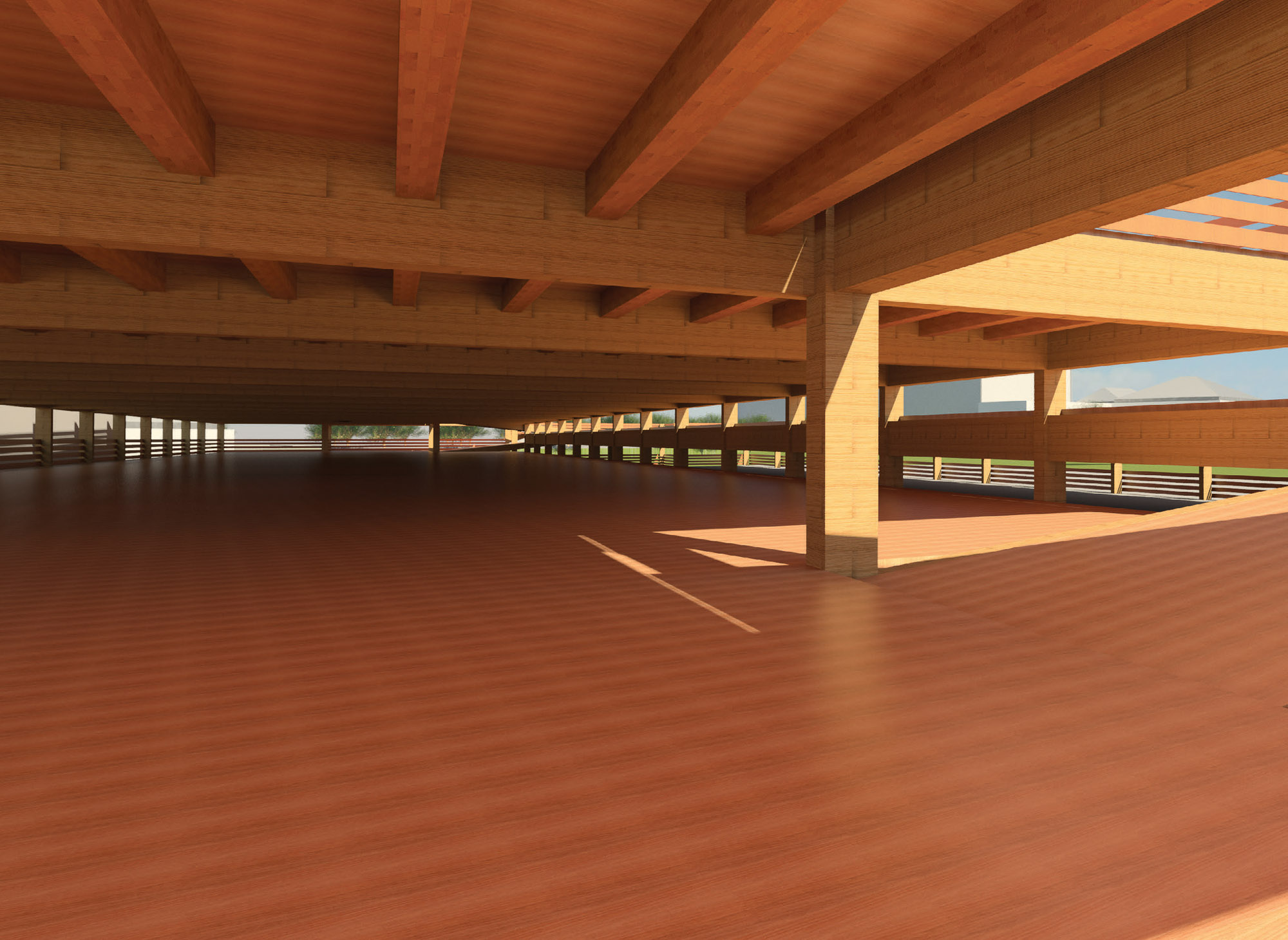 Internal view of car parking structure